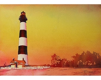 Bodie Island lighthouse at sunset inOuter Banks (OBX) of North Carolina- USA.  Lighhtouse watercolor landscape fine art print Bodie Island