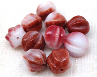 12 Rustic Red White Czech Melon Glass Beads 10mm