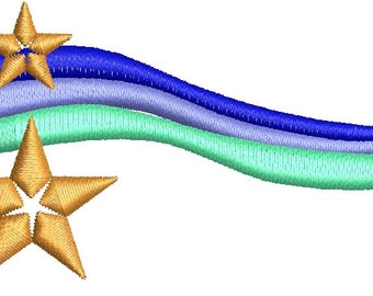 waves and stars embroidery design
