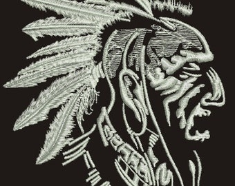 Indian with feathers Machine Embroidery Design,  Instant Download