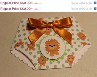 10% off 25 lion print print baby shower diaper DIY invitations W/  embellishments and white envelopes