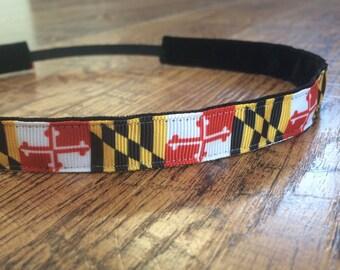 Women's Maryland flag no slip headband. Baltimore, Ravens, orioles, headband, Maryland, flag, women's, girls, hair, accessory, sassy band