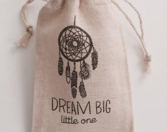 Dream Big Little One Dreamcatcher  Muslin Favor Bags, Set of 10 (3x5 shown)