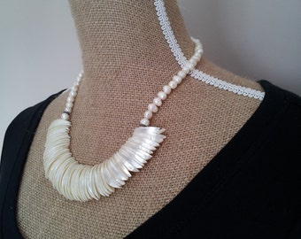Beautiful Fresh Water Pearl and Mother of Pearl Necklace.