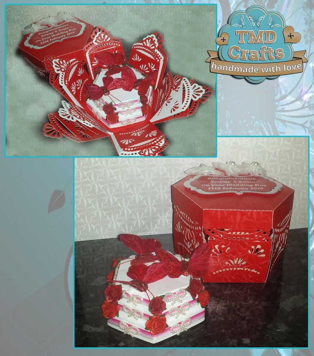 3 Tier Wedding Cake in Exploding Box