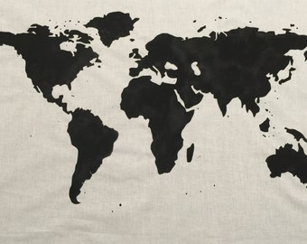 SALE.*.   World Map Wall Tapestry in Black