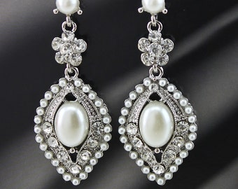 "Bridal Earrings Wedding Earrings Wedding Jewelry Bridal Jewelry Brides Earrings ""Silver""  Pearl Earrings Style-374"
