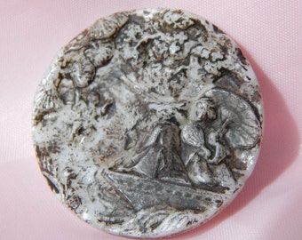 Oriental Women in a Flat Bottom Boat Large Milk Glass Button