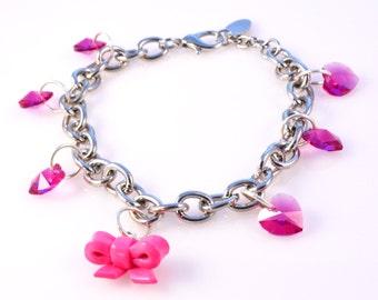 Pink Polymer Clay Bow with Swarovski Hearts Fashion Charm Bracelet