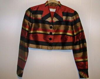 Dana Buchman Raw Silk Bolero Jacket - Size 4 - Red Dirt Girl - 262