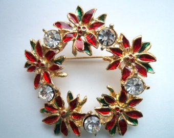 Vintage Unsigned Goldtone/Red/Clear Rhinestone Poinsetta Wreath Brooch/Pin