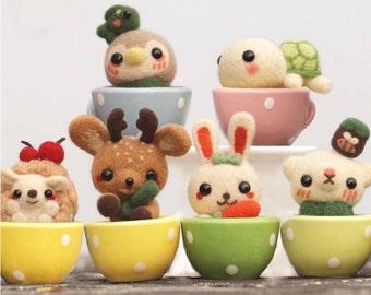 Set of 6pcs Little Animals with Cups Needle Felting DIY Kit