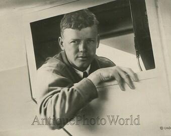 Charles Lindbergh in airplane New York to Paris flight antique photo postcard