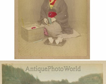 Japan woman drinking tea and rice farming 2 antique hand tinted albumen photos