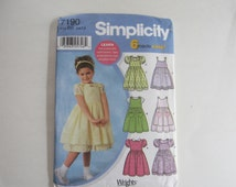 Simplicity 7190 Girls' Dresses Jumpers and Sundresses Six Styles Sizes 5,6,7,8 Uncut Sewing Pattern, Girls' Dresses Pattern Simplicity 7190