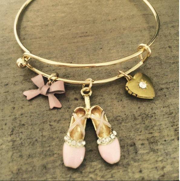 Ballet Charm Bracelet Ballerina Bangle Heart Locket