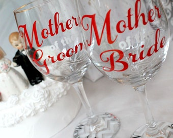 Wedding party wine glass, mother of the groom wine glass, mother of the bride wine glass, personalized, wedding wine glass, MOB, MOG, gift