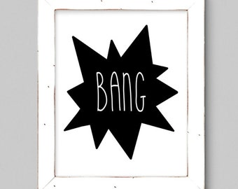 Black and White Superhero BANG - Wall Print - Minimal - 8x10