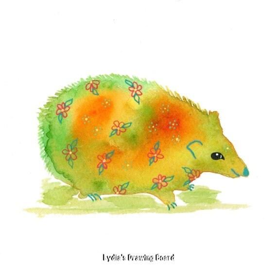 Hedgehog, Hedgehog Art, Hedgehog Print, Animal Print, Kids Room Art ...