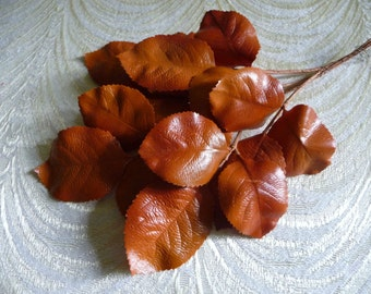 Vintage Millinery Leaves Orange Rust NOS Germany for Hats, Fascinators, Crafts, Fall Autumn Colors  7LV0021O