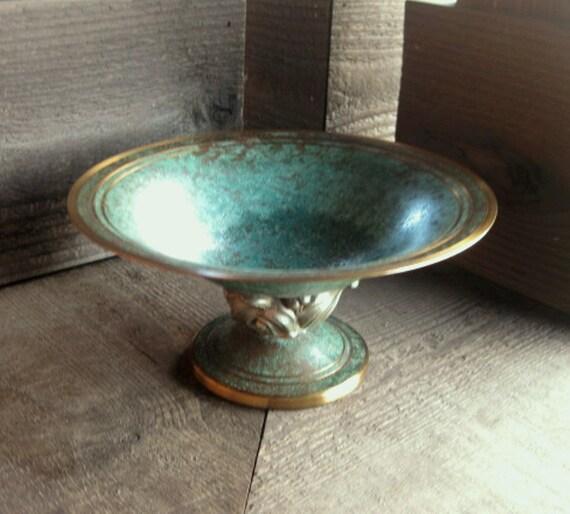 Dark Verdigris Green Ornate Pedestal Light: Arts And Crafts Bronze Pedestal Dish By Carl Sorensen Blue