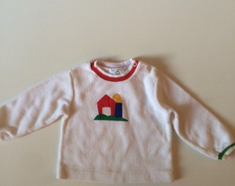 Vintage Florence Eiseman White Sweater with Red Barn and Silo