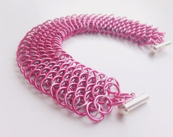 Chainmail bracelet, pink breast cancer awareness dragonscale chain mail, bright handmade cuff chain mail jewelry made by misome