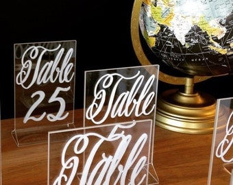 Unique Table Number with Wedding Calligraphy, Table Number Ideas, Acrylic, Tables 1-10