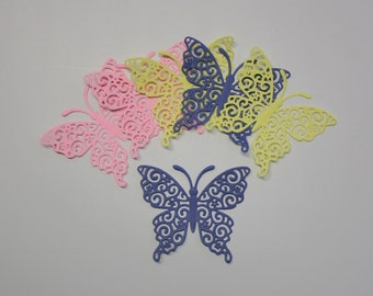 Set Of 6 Large Beautifully Detailed Butterflies/Die Cuts/Embellishments/Paper Cuts/Scrapbooking/Card Making/