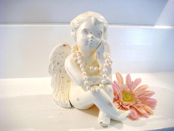 Ceramic angel, mantel angel, shelf angel, cherub, nursery decor, shabby chic decor, religious decor, angel figurine, angel statue