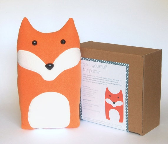 Plush Craft Animal Friends Pillow Kit : DIY Kit Fox Woodland Pillow Plush Fleece Fabric Animal