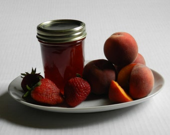 Naturally grown Strawberry and Peach Jam, Oregon, Pacific Northwest