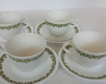 Corelle Spring Blossom Cups and Saucers - Set of 4