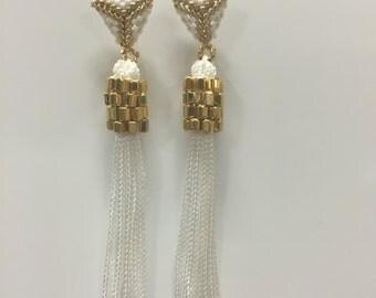 White studded tassel earring