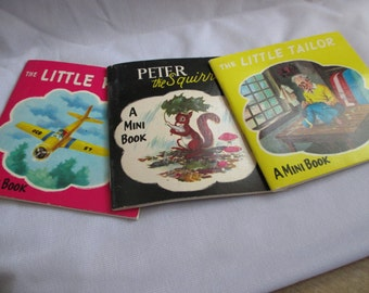 """Three  Vintage Mini Book entitled"""" The Little Tailor-Peter the Squirrel - The Little Pilot"""" - estate find!"""