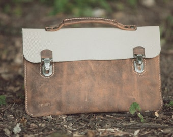A briefcase, a clutch, a handbag. All in one bag. Full grain leather bag,Leather bag, leather clutch, hand bag, leather bag