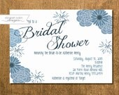 Bridal Shower Invitation, Blue Floral Design