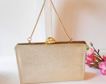 Gold Evening Bag, Vintage Purse, Gold Evening Purse, Glamorous Gold Bag, Gold Clutch Bag, Gold Metallic Bag  EB-0635