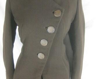 Vtg 40s 50s Brown Womens Vintage 2 Piece Skirt Suit W 32