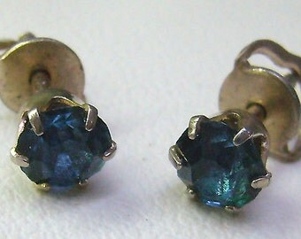 Sale..Antique Victorian Blue Threaded Earrings...Gold Filled... Blue Rhinestone Crystal Threaded Post Earrings