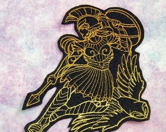 Athena Greek Goddess Iron On Embroidery Patch MTCoffinz - - Choose Size / Color