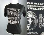 Vintage Jack Daniels thin 80s black graphic t-shirt Small