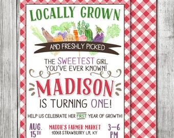 Girls Farmer Market Invite - Freshly Picked Invite - First Year Of Growth - 5x7 JPG (Front and Back Design)