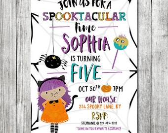 Girl Halloween Birthday Invitation - Spooktacular Time - Costume Party - Fall Birthday Party - 5x7 JPG