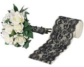Lace Ribbon Floral Trim Patterned Black  (available in 4 sizes)