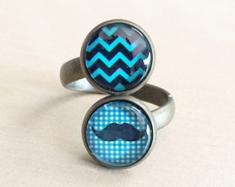 40% OFF: Teal Mustache Ring - Chevron Stripes, Mustaches, Green & Black, Hipster, Double Adjustable Band, Antique Bronze, Glass Cabochons