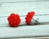 Red Flower Stud Earrings/ Red Post Earrings/ 1/2 inch