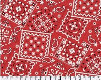Red Bandana Fabric --  100% Cotton Fabric --- Fabric By The Yard