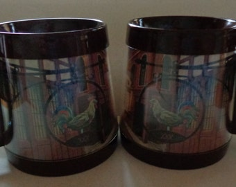 2 Vintage West Bend Brown Thermo Serv Coffee Mugs Cups The Rooster Tavern design