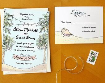 Beach Bliss: Painted Tropical Destination Island Sea Palm Tree Wedding Invitation and RSVP Postcard Suite / Deposit